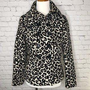 F21 Leopard Pea Coat Size Large